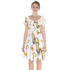 Isolated Three Dimensional Negative Roll Musical Notes Movie Short Sleeve Bardot Dress