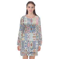 Deco Heritage Mix Long Sleeve Chiffon Shift Dress