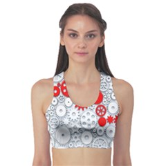 Iron Chain White Red Sports Bra