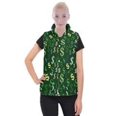 Money Us Dollar Green Women s Button Up Puffer Vest