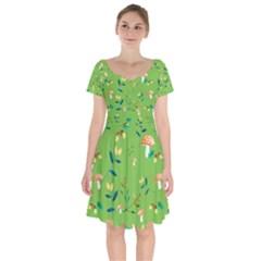 Mushrooms Flower Leaf Tulip Short Sleeve Bardot Dress