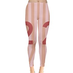 Number 2 Line Vertical Red Pink Wave Chevron Leggings