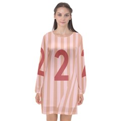 Number 2 Line Vertical Red Pink Wave Chevron Long Sleeve Chiffon Shift Dress  by Mariart