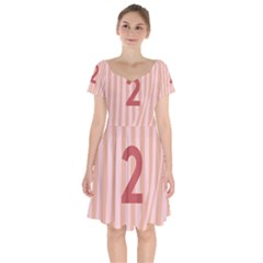 Number 2 Line Vertical Red Pink Wave Chevron Short Sleeve Bardot Dress by Mariart