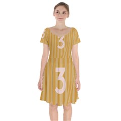 Number 3 Line Vertical Yellow Pink Orange Wave Chevron Short Sleeve Bardot Dress