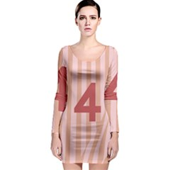 Number 4 Line Vertical Red Pink Wave Chevron Long Sleeve Bodycon Dress
