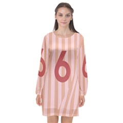 Number 6 Line Vertical Red Pink Wave Chevron Long Sleeve Chiffon Shift Dress