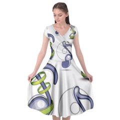 Notes Musical Elements Cap Sleeve Wrap Front Dress