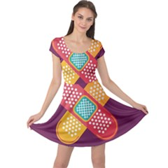 Plaster Scratch Sore Polka Line Purple Yellow Cap Sleeve Dresses