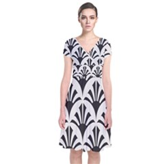 Parade Art Deco Style Neutral Vinyl Short Sleeve Front Wrap Dress
