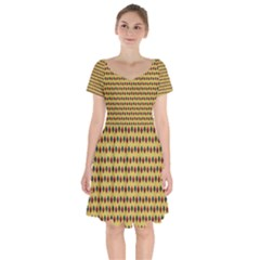 Points Cells Paint Texture Plaid Triangle Polka Short Sleeve Bardot Dress by Mariart