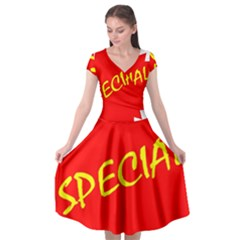 Special Sale Spot Red Yellow Polka Cap Sleeve Wrap Front Dress by Mariart