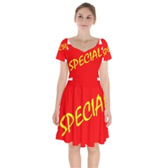 Special Sale Spot Red Yellow Polka Short Sleeve Bardot Dress
