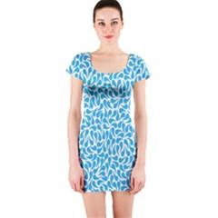 Pattern Blue Short Sleeve Bodycon Dress