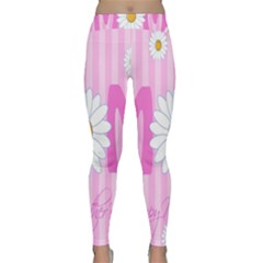 Valentine Happy Mothers Day Pink Heart Love Sunflower Flower Classic Yoga Leggings by Mariart