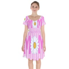 Valentine Happy Mothers Day Pink Heart Love Sunflower Flower Short Sleeve Bardot Dress by Mariart