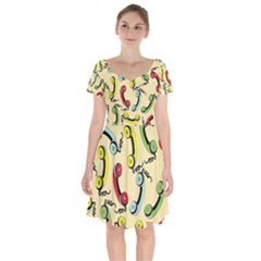 Telephone Cable Green Nyellow Red Blue Short Sleeve Bardot Dress