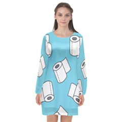 Roller Tissue White Blue Restroom Long Sleeve Chiffon Shift Dress  by Mariart
