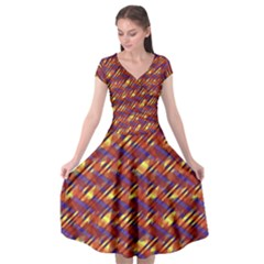 Linje Chevron Blue Yellow Brown Cap Sleeve Wrap Front Dress by Mariart