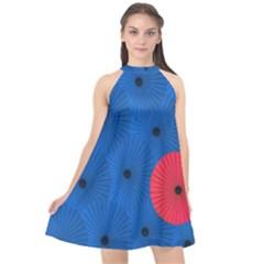 Pink Umbrella Red Blue Halter Neckline Chiffon Dress