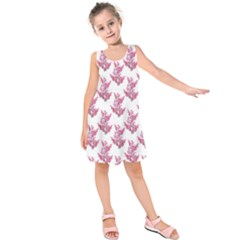 Colorful Cute Floral Design Pattern Kids  Sleeveless Dress by dflcprintsclothing
