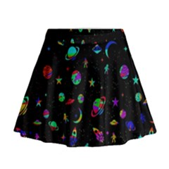 Space Pattern Mini Flare Skirt by Valentinaart