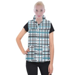 Plaid Pattern Women s Button Up Puffer Vest by Valentinaart
