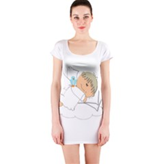 Sweet Dreams Angel Baby Cartoon Short Sleeve Bodycon Dress
