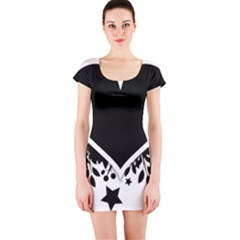 Silhouette Heart Black Design Short Sleeve Bodycon Dress by Nexatart