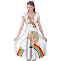 Angel Rainbow Cute Cartoon Angelic Cap Sleeve Wrap Front Dress by Nexatart