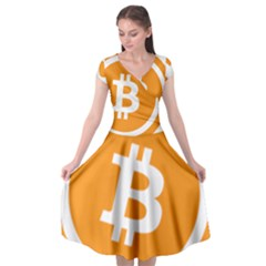 Bitcoin Cryptocurrency Currency Cap Sleeve Wrap Front Dress by Nexatart