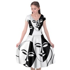Theatermasken Masks Theater Happy Cap Sleeve Wrap Front Dress by Nexatart