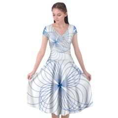Blue Spirograph Pattern Drawing Design Cap Sleeve Wrap Front Dress