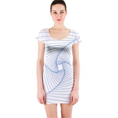 Spirograph Pattern Drawing Design Short Sleeve Bodycon Dress