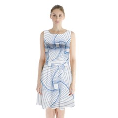 Spirograph Pattern Drawing Design Sleeveless Waist Tie Chiffon Dress by Nexatart