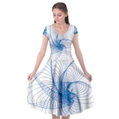 Spirograph Pattern Drawing Design Blue Cap Sleeve Wrap Front Dress