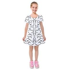 Brain Mind Gray Matter Thought Kids  Short Sleeve Velvet Dress by Nexatart