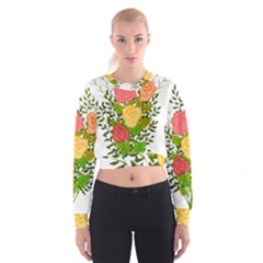 Roses Flowers Floral Flowery Cropped Sweatshirt by Nexatart
