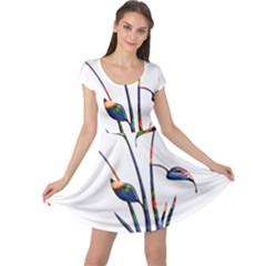 Flora Abstract Scrolls Batik Design Cap Sleeve Dresses