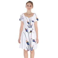 Flora Abstract Scrolls Batik Design Short Sleeve Bardot Dress