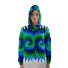 Star 3d Gradient Blue Green Hooded Wind Breaker (women) by Nexatart