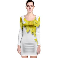 Flowers Spring Yellow Spring Onion Long Sleeve Bodycon Dress