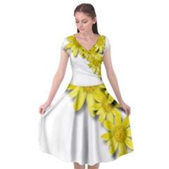 Flowers Spring Yellow Spring Onion Cap Sleeve Wrap Front Dress by Nexatart