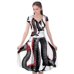 Dragon Black Red China Asian 3d Cap Sleeve Wrap Front Dress by Nexatart