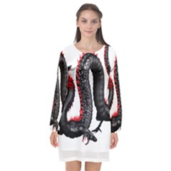 Dragon Black Red China Asian 3d Long Sleeve Chiffon Shift Dress