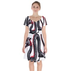 Dragon Black Red China Asian 3d Short Sleeve Bardot Dress