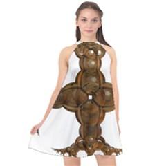Cross Golden Cross Design 3d Halter Neckline Chiffon Dress  by Nexatart