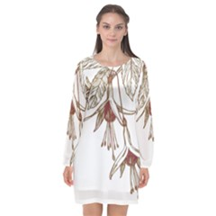 Floral Spray Gold And Red Pretty Long Sleeve Chiffon Shift Dress  by Nexatart