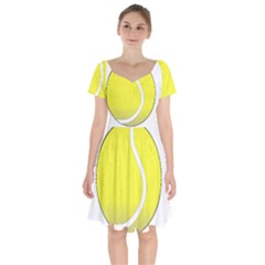 Tennis Ball Ball Sport Fitness Short Sleeve Bardot Dress by Nexatart