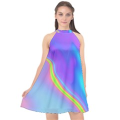 Aurora Color Rainbow Space Blue Sky Purple Yellow Halter Neckline Chiffon Dress  by Mariart